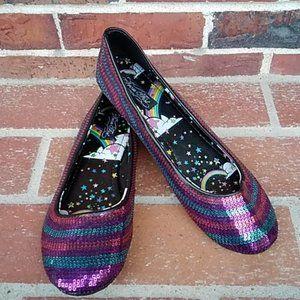 🆕 Iron Fist Rainbow Sequin Ballet Flats, Size 11
